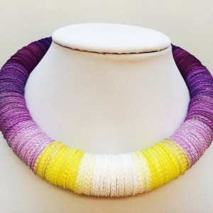 Floral necklace, Paper necklace, Paper beads, Statement necklace, adjustable necklace, Pansy, Iris, Orchid, hemp cord