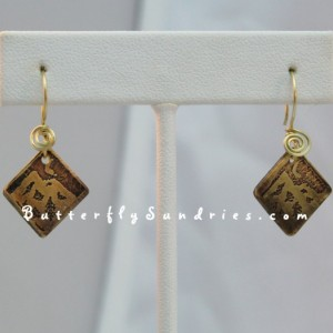 Etched Nighttime Mountain Earrings - Beautiful World Collection - Available in Copper or Brass - Supports Weed Warriors