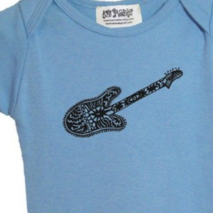 Blue guitar baby onesie Cotton American Apparel one-piece bodysuit