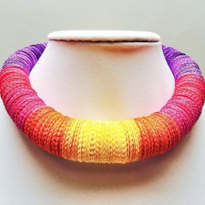 Colorful necklace, Paper necklace, Tropical Sunset, resort wear jewelry, Statement necklace, Yellow, Orange, Pink, Purple