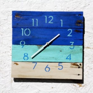 BEACH HOUSE Clock. Hip, Modern, Ocean Blue. Recycled, Reclaimed, Repurposed Pallet Wood Wall Clock. Great gift idea.