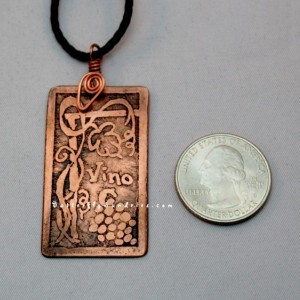 Etched Vino Pendant with Grapes and Vine Trellis - Tendrils of the Vine Collection - Available in Brass or Copper