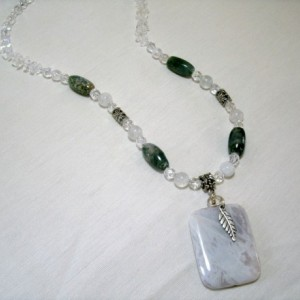 """Russian Lace, and Moss Agates with Crystal Quartz and Rainbow Moonstone """"Zarin"""""""