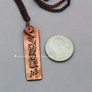 Grapes and Vine Tendrils Etched Pendant - Tendrils of the Vine Collection - Available in Brass or Copper
