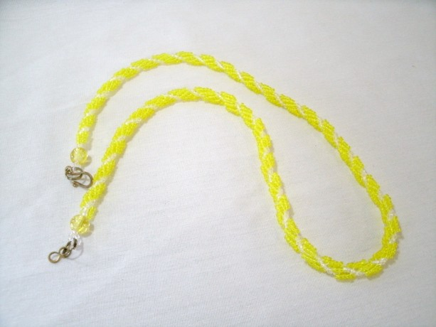 Hand Woven Necklace with Yellow glass beads