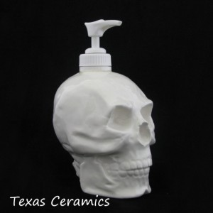 All White Skull Pump Dispenser Halloween Horror Decoration Soap Dispenser for Phrenologist Bath Vanity