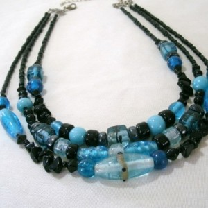 """Three strand necklace with mixed Blue & Black Glass """"Nicole"""""""