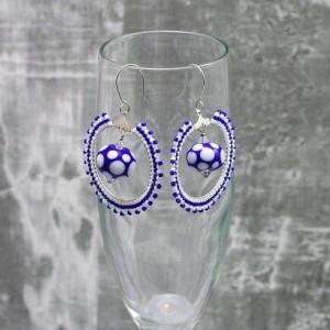 Beaded Hoop Earrings // Blue and White // Lampwork Bead