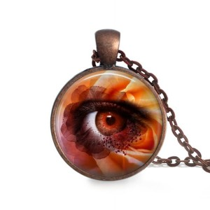Flower Pendant - Antique Copper Necklace - Eyeball Pendant - 24 inch Necklace - Glass Dome Pendant