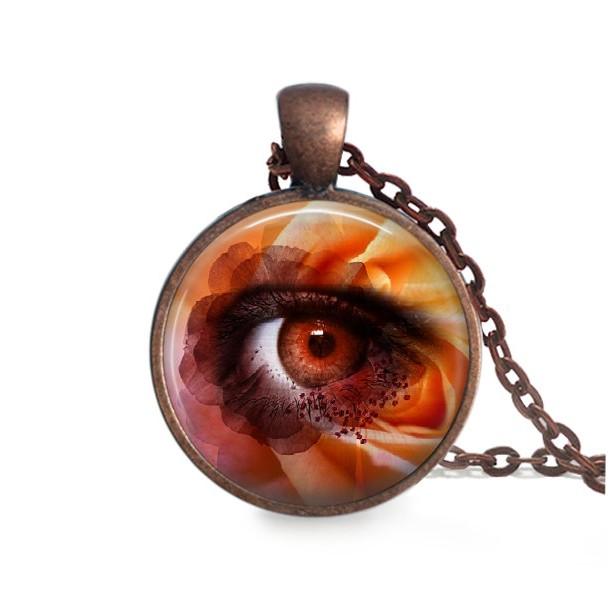 Flower pendant antique copper necklace eyeball pendant 24 i flower pendant antique copper necklace eyeball pendant 24 inch necklace glass dome aloadofball Images