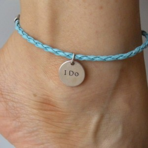 Something blue anklet for bride wedding I do or bracelet charm pendant leather braided rope bachelorette party wedding nice gift