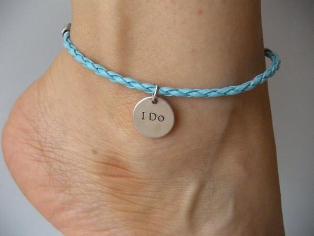 Something blue anklet for bride wedding I do or bracelet charm pendant leather braided rope bachelorette party wedding nice gift