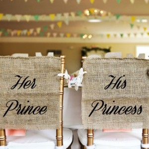 Rustic Burlap Prince & Princess Wedding Chair Cover Signs in White or Black