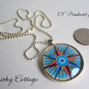 Earth Pendant - 24 inch Necklace - Earth Necklace - Glass Dome Pendant - Round Pendant Ball Chain