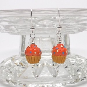 Ceramic  orange with dots frosting cupcakes from Peru pierced dangle hand made earrings