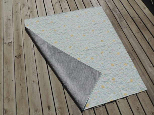 Vintage Sheet Quilt Yellow Pink Blue Carnation Blanket With Minky Backing Throw Blanket