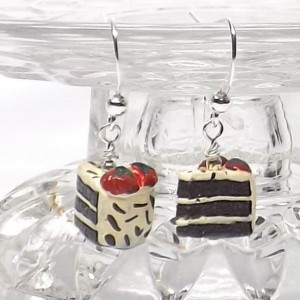 Ceramic chocolate vanilla cake earring with sprinkles layer cake brown white  pierced dangle hand made earrings