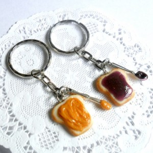 Peanut Butter and Jelly Keychain Set, With Knife & Spoon, Best Friend's Keychains, Cute :D