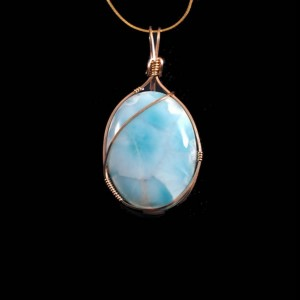 Larimar 14kt Gold-filled Wire Wrapped Pendant