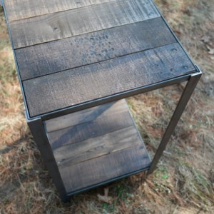 Rustic Industrial Wood and Steel Side Table
