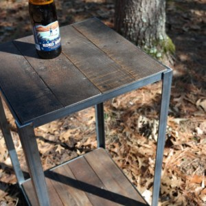 Rustic Industrial Wood and Steel Side Table