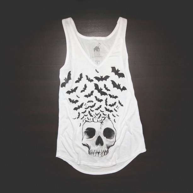 V Neck Tank Urban Skull W/ Bats Flying in White