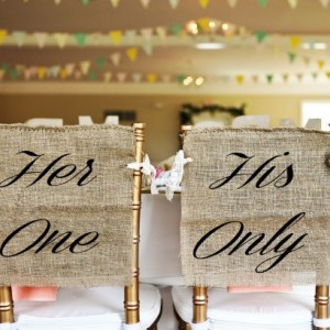 Burlap and Lace His One and Her Only Wedding Chair Cover Signs - PICK YOUR COLOR