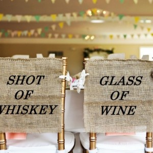 Rustic Burlap Shot Of Whiskey Wedding Chair Cover Signs Glass of Wine - PICK YOUR COLOR