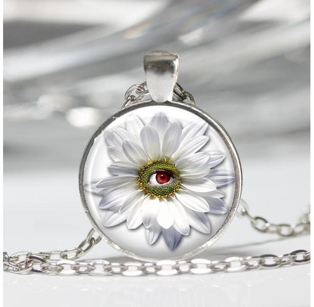 Flower Pendant - Daisy Necklace - 24 inch Necklace - Bizarre Handmade Jewelry