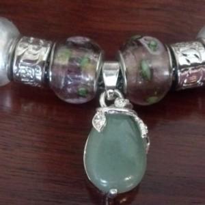 Green aventurine, charm bracelet, gemstone jewelry, New Age jewelry, knitted bracelet, handmade jewelry, unique gift, fashion jewelry