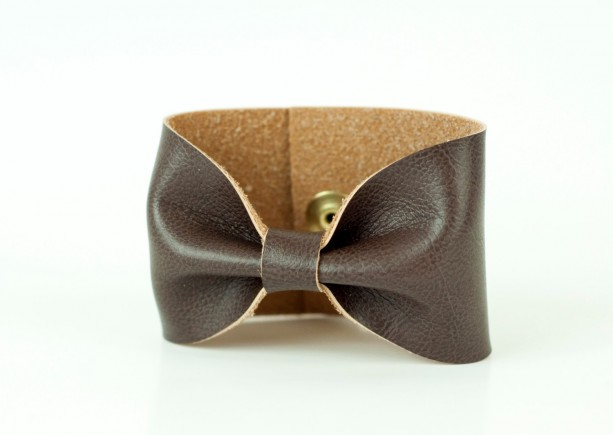 Brown Bow Cuff Saddle Faux Leather Vegan Bracelet Doctor Who Aftcra