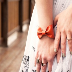 Orange Bow Bracelet Cuff, BowTie Faux Leather Vegan Cuffs, Doctor Who Tie Bowtie Scarf Accessory,  Wide Tattoo Cover