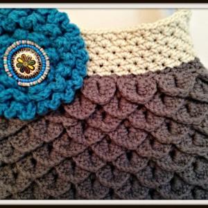 Shoulder bag, Crocheted handbag, handmade purses, totes, lined handbag, mermaid tears handbag, women's handbags, crochet handbags