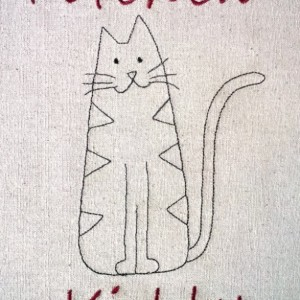 Kitchen Kitty Tea Towel  - Cotton Towels - 21x17 Natural Oatmeal colored Tea Towel - Add your own words