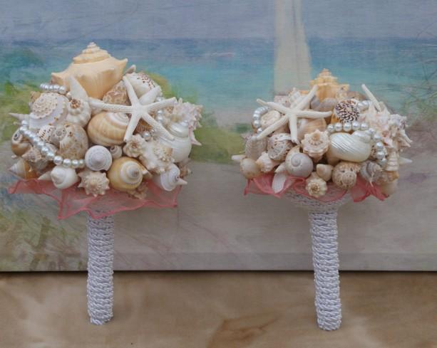 6 Piece Package Seashell Bouquet  Davids Bridal Pool Blue/ Ocean Bouquet/  Destination Bouquet/  Summer Bouquet/ Beach Bouquet Made to Order