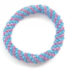 Chunky Pink and Blue Beaded Roll On Bracelet