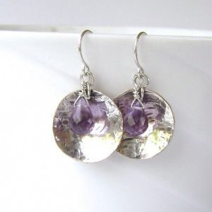 Amethyst Earrings, Gemstone Jewelry, Sterling Silver, Silver Filled, Oxidized Silver, Handmade, Hammered,  Purple, Violet, Lavender, 714