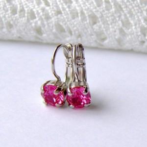 Pink rhinestone earrings / rose pink / 6mm / leverback
