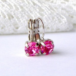Pink rhinestone earrings / rose pink / 6mm / leverback