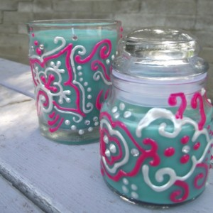 Teal Candle Set With Pink and White Henna