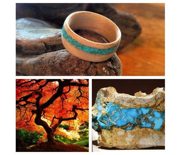 Maple with Sleeping Beauty Turquiose Inlay Bentwood Ring