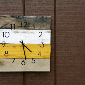 Handmade Pallet Wood Clock.  Modern. Industrial Chic. Rustic.  Mustard Yellow.  Ivory.  Wall clock.  Gift idea.