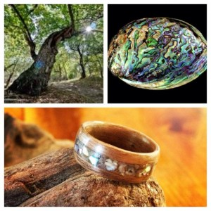Walnut and Ablone inlay bentwood ring.