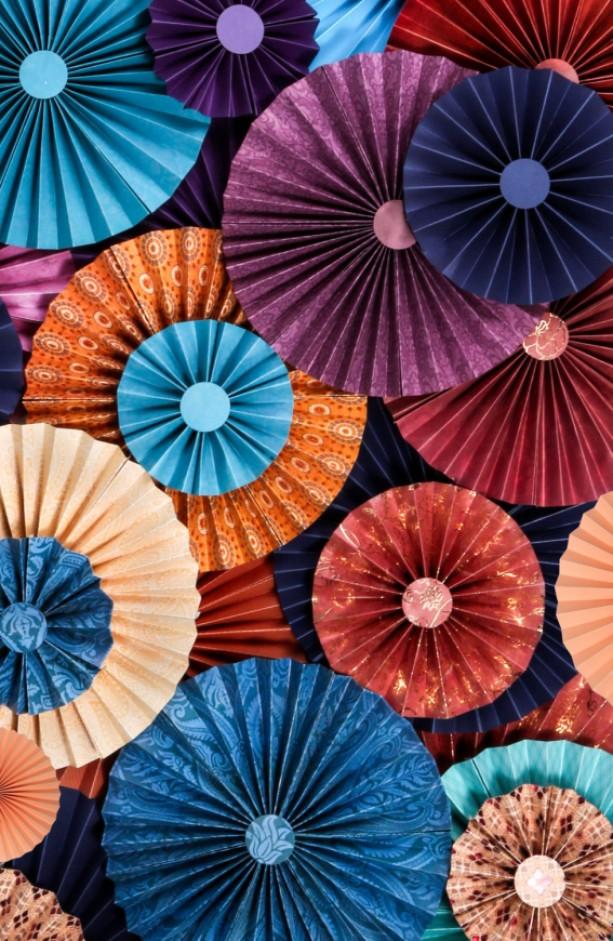 40pc Set of  blue orange red purple Paper Pinwheel's Rosette paper Flower Party Decoration wedding birthday shower pinwheel decour pinwheels