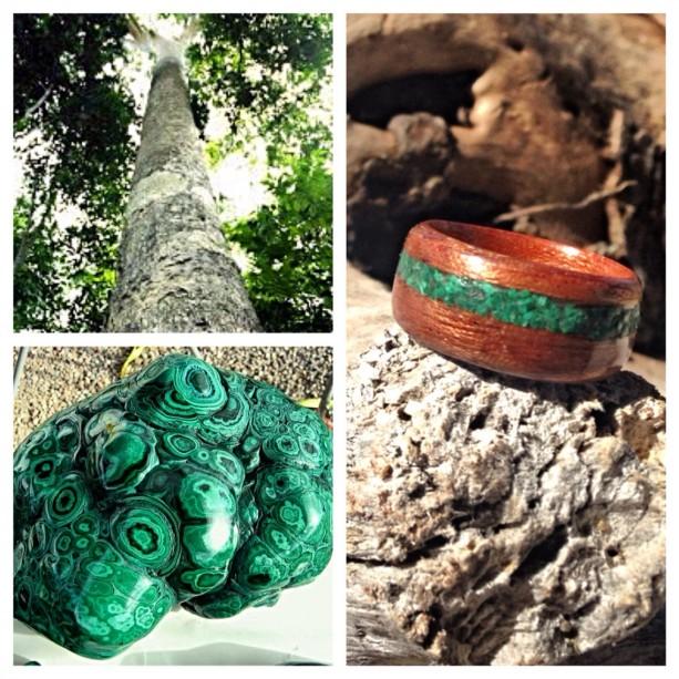 Sapele with Green Malachite stone inlay.