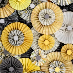 10pc Set of yellow & gray Paper Pinwheel's Rosette paper Flower Party Decoration wedding birthday shower pinwheel decour pinwheels paper fan