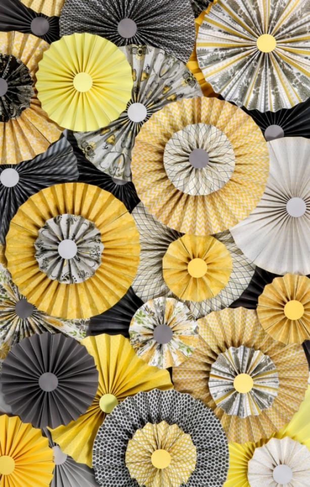 10pc Set Of Yellow Gray Paper Pinwheels Rosette Paper Flower P