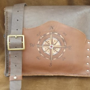 Rustic Brown Leather Satchel Messenger Bag  Steampunk