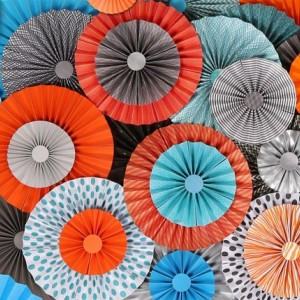 10pc Set of Teal orange gray Paper Pinwheel's Rosette paper Flower Party Decoration wedding birthday shower pinwheel decour pinwheels