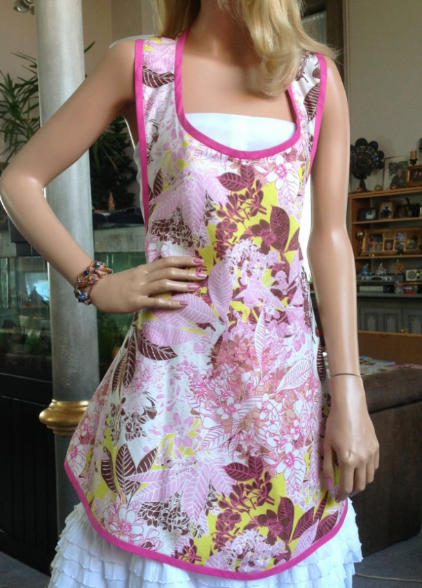 Pretty in Pink Apron - Unique Bias Cut Apron - Fits most sizes - Pink and Brown Print